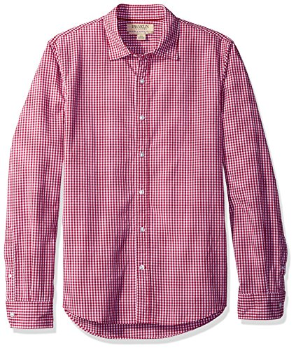 Franklin Tailored Men's Regular-Fit Long-Sleeve Small-Scale Gingham Shirt, Red, Medium ()