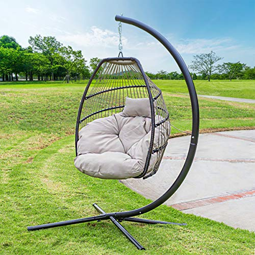 Barton Outdoor Hanging Egg Chair Swing Lounge Chair UV Resistant Soft Deep Cushion Backyard Relax, Beige (Lounger Outdoor Furniture Rattan Hanging)