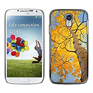 FECELL CITY // Duro Aluminio Pegatina PC Caso decorativo Funda Carcasa de Protección para Samsung Galaxy S4 I9500 // Autumn Leaves Birch Yellow Sun
