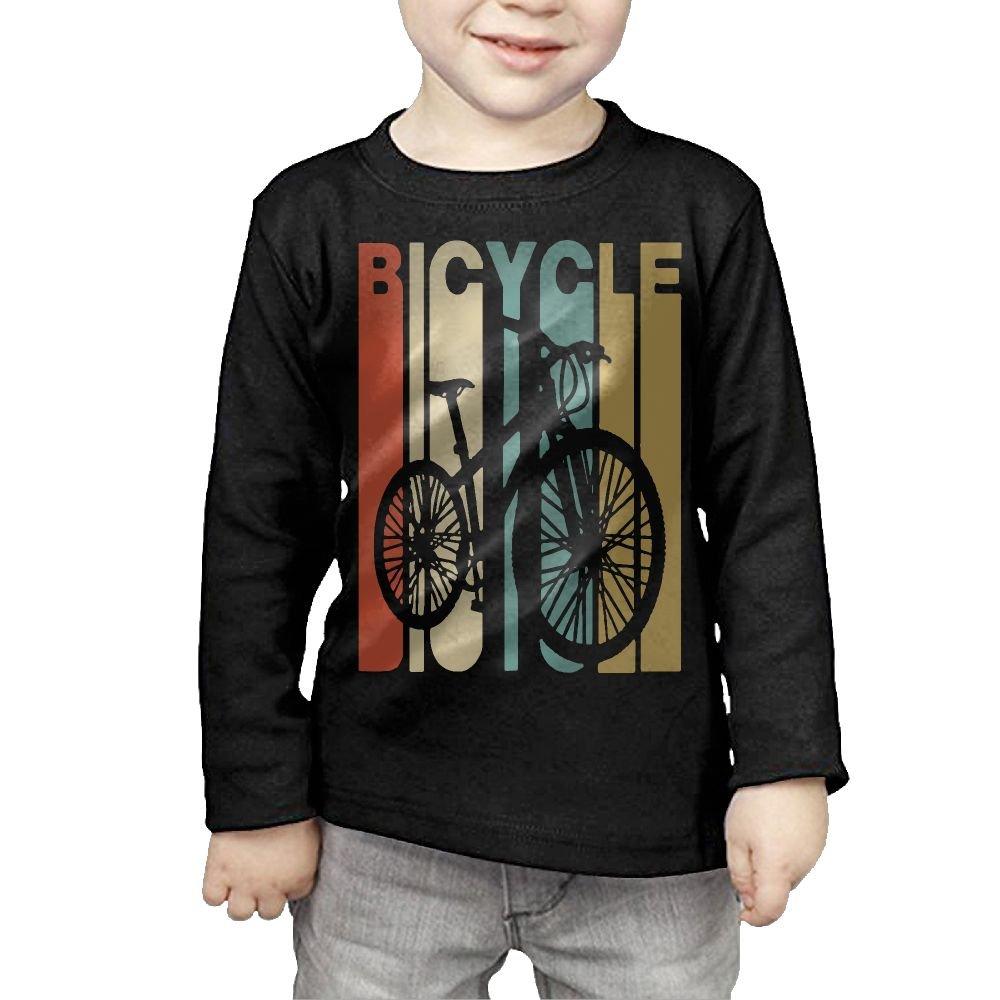 Baby Girls Kids Vintage Style Bicycle Silhouette ComfortSoft Long Sleeve Tee