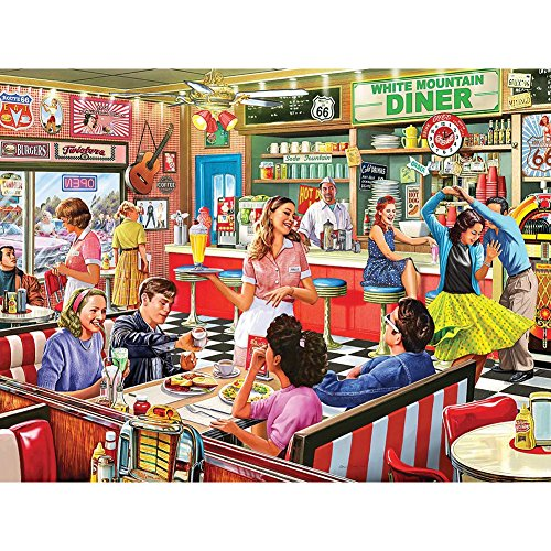 White Mountain American Diner 1000 Piece Jigsaw Puzzle 30 x24 Made in USA