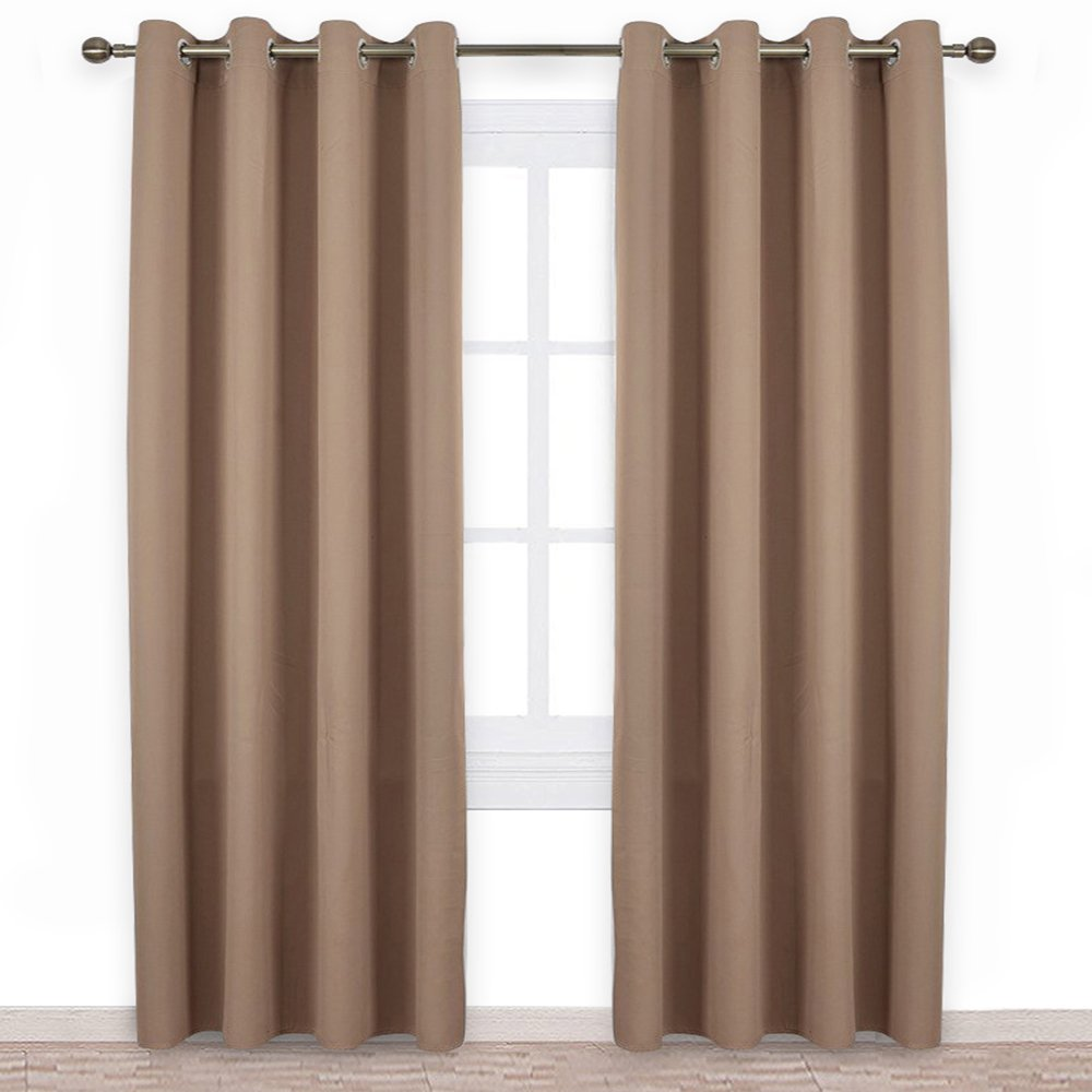 NICETOWN Bedroom Blackout Curtains Drapes - Window Treatment Thermal Insulated Solid Grommet Blackout Draperies Bedroom (Set of 2 Panels, 52 95 inch, Cappuccino)