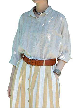 f9ce5bd07df1 BUYKUD Retro Linen Embroidered Women Loose Shirt (Beige2) at Amazon ...