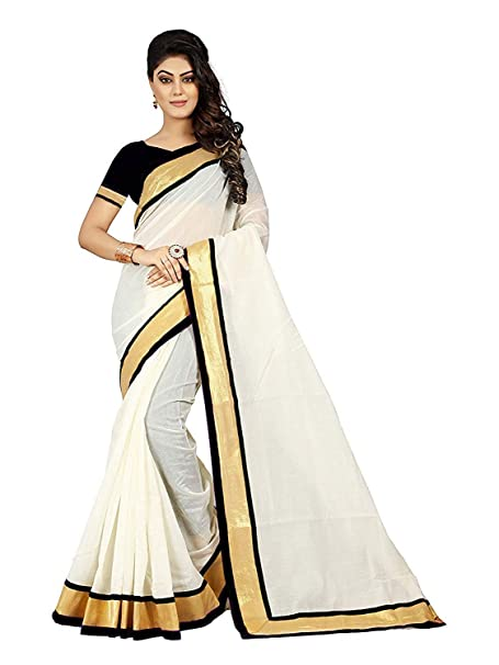 c360fd0b6b5656 Diya Fashion Women s Art Silk Saree With Blouse Piece(White Cotton saree  with Black Blous)  Amazon.in  Clothing   Accessories