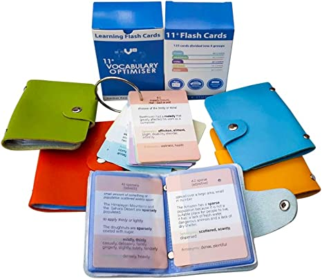 11+ Tarjetas Flash Vocabulario – 11 Plus Reasoning Booster, Cloze Sentencias, Sinónimos, Antonimos, Homonimos, apoyo en palabras confusas, práctica on-line, color Azul 1: Vocabulary Optimiser: Amazon.es: Oficina y papelería