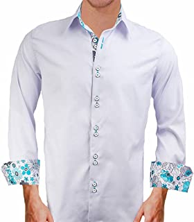 product image for Grey w/Teal Designer Mens Dress Shirt - Made in The USA
