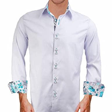 Grey W Teal Designer Mens Dress Shirt Made In The Usa At Amazon