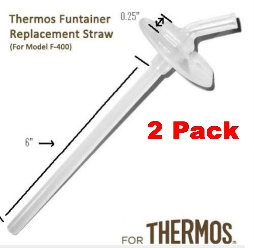 Thermos Funtainer Replacement Straw 12 Ounce For Bottle Model Number F400 (Thermos Funtainer Without The Handle On The Lid) - 2 packs