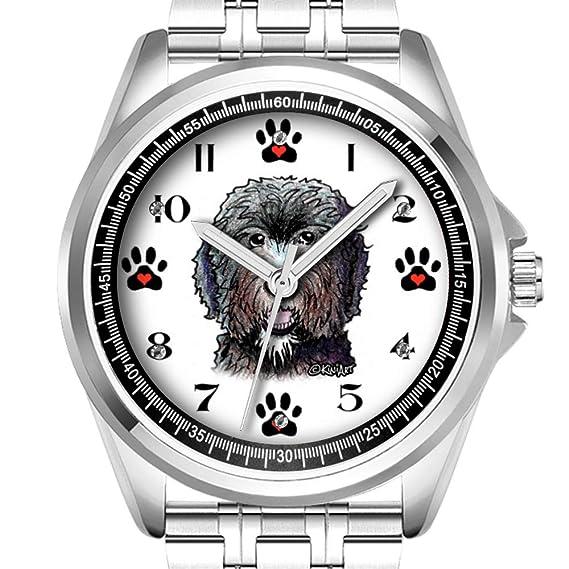 Reloj de Pulsera Personalizado para Hombre, Reloj de Moda Impermeable, Reloj de Pulsera Diamond_190.Negro Doodle Perro Reloj de Pulsera: Amazon.es: Relojes