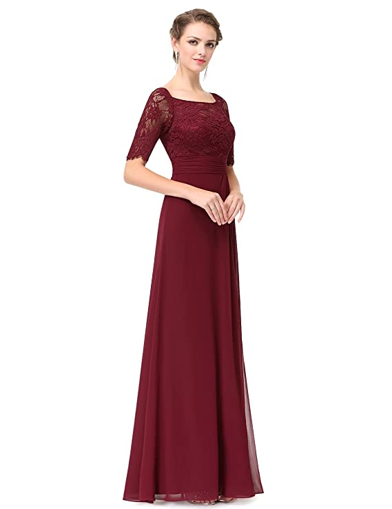 Ever-Pretty Elegant Illusion Neckline Half Sleeves Evening Dress 8UK Burgundy: Amazon.co.uk: Clothing