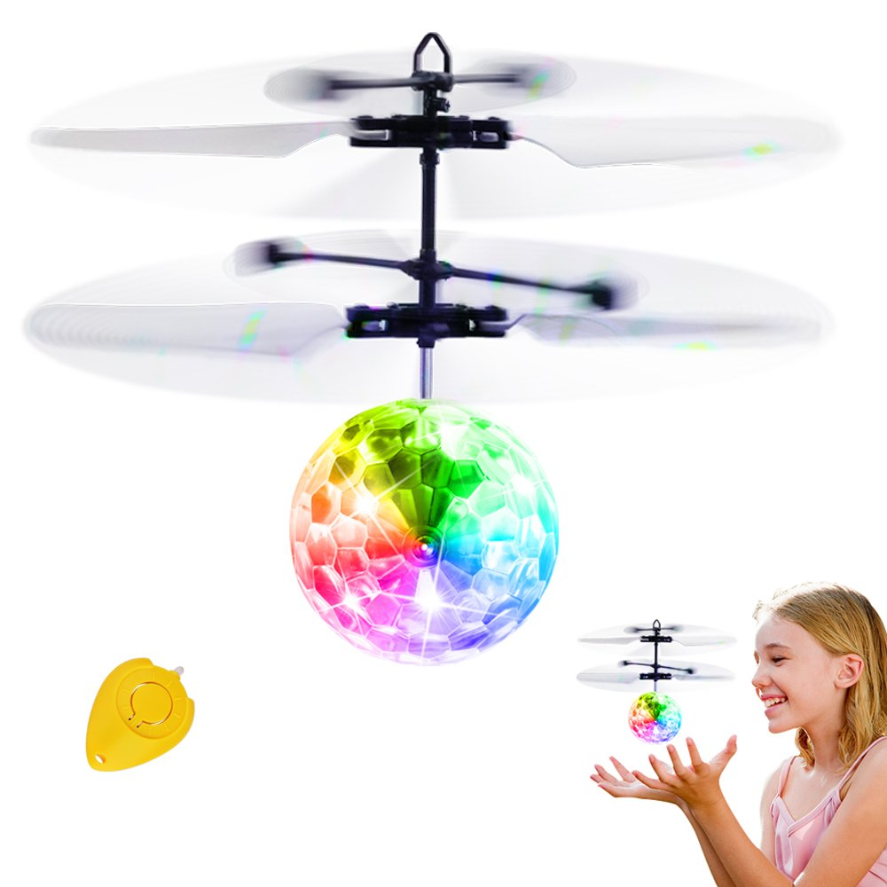 Flying Ball Toys, Sinmeey RC Toy for Kids Boys Girls Gifts Rechargeable Light Up Ball Drone Infrared Induction Helicopter with Remote Controller for Indoor and Outdoor Games