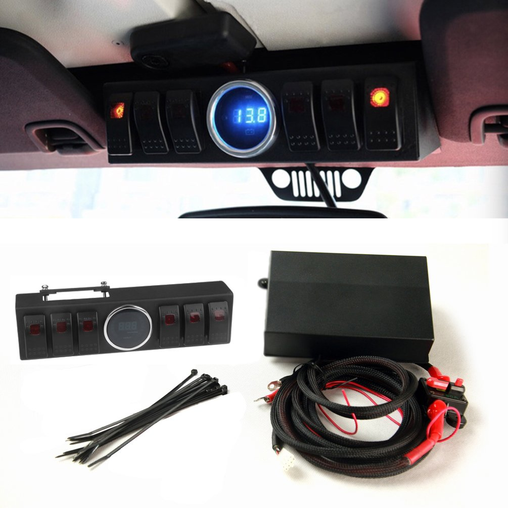 6 Switch Control Panel Box For Jeep Wrangler Jk Jku Led Lights Bar Light Switches Rock With