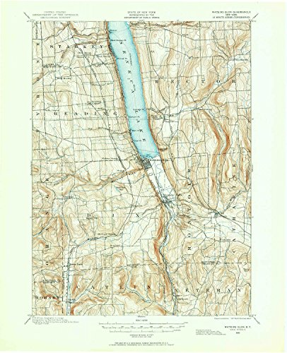 (YellowMaps Watkins Glen NY topo map, 1:62500 Scale, 15 X 15 Minute, Historical, 1898, Updated 1961, 20.9 x 17 in - Polypropylene)