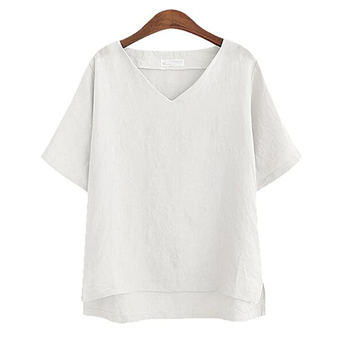 2661a077 Singapore ndf Summer Female Top Women V-Neck Loose Leisure Linen T ...