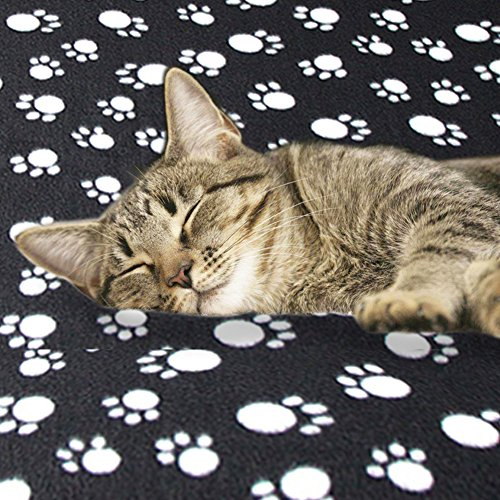 Eagmak Cute Dog Cat Fleece Blankets with Pet Paw Prints for Kitten Puppy and Small Animals Pack of 6 (black, brown, blue, grey, red and white) by Eagmak (Image #5)