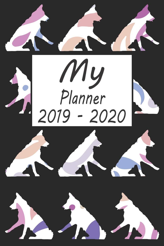 My Planner 2019 - 2020: Border Collie Dog Pattern Black ...