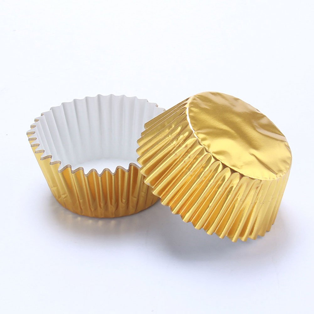 QIND 100PCS/Box Gold Mini Cake Paper Cup Cupcake Cases,Aluminum Foil Paper Cake Cup Cases Liners Muffin Kitchen Baking Wedding Party(11cm,Shallow gold)