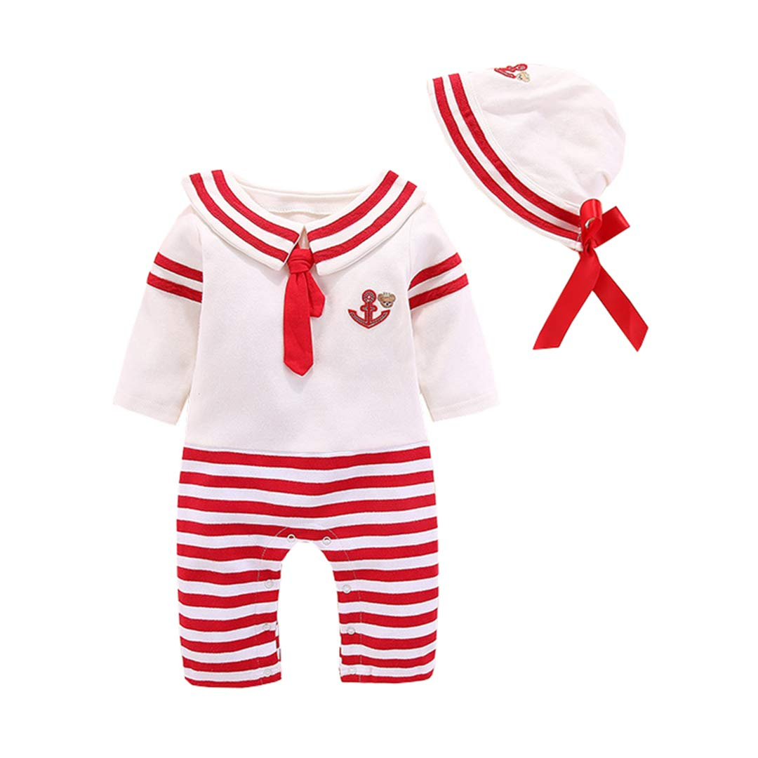FCQNY Infant Baby Girl Boy Adorable Button-Down Sailor Nautical Rompers Jumpsuit