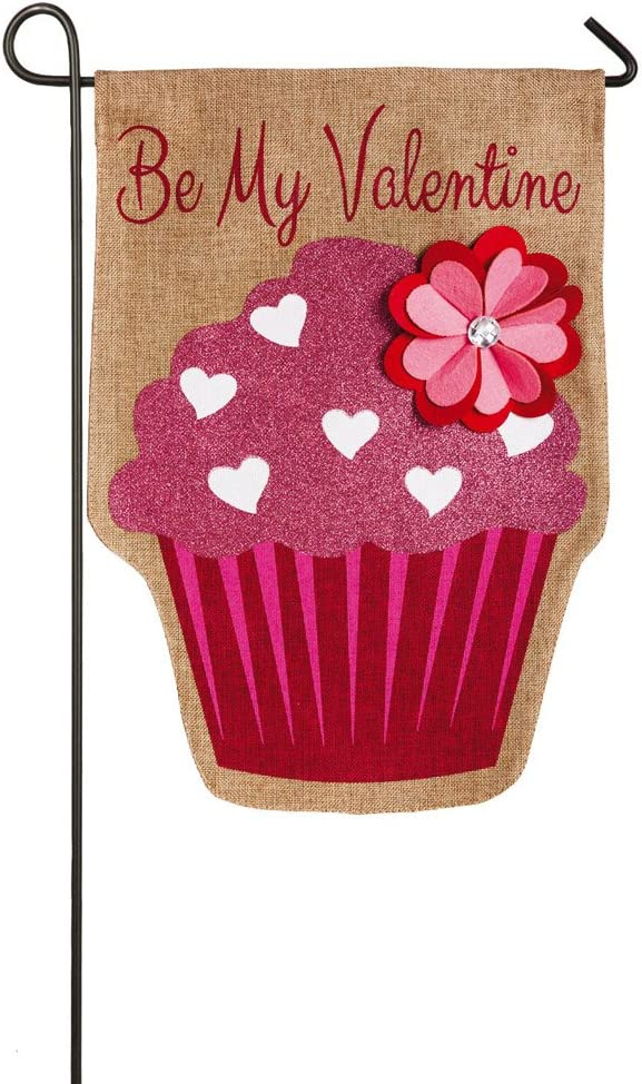 Evergreen Flag Embellished Valentine's Day Cupcake Burlap Garden Flag - 12.5 x 18 Inches Outdoor Decor for Homes and Gardens