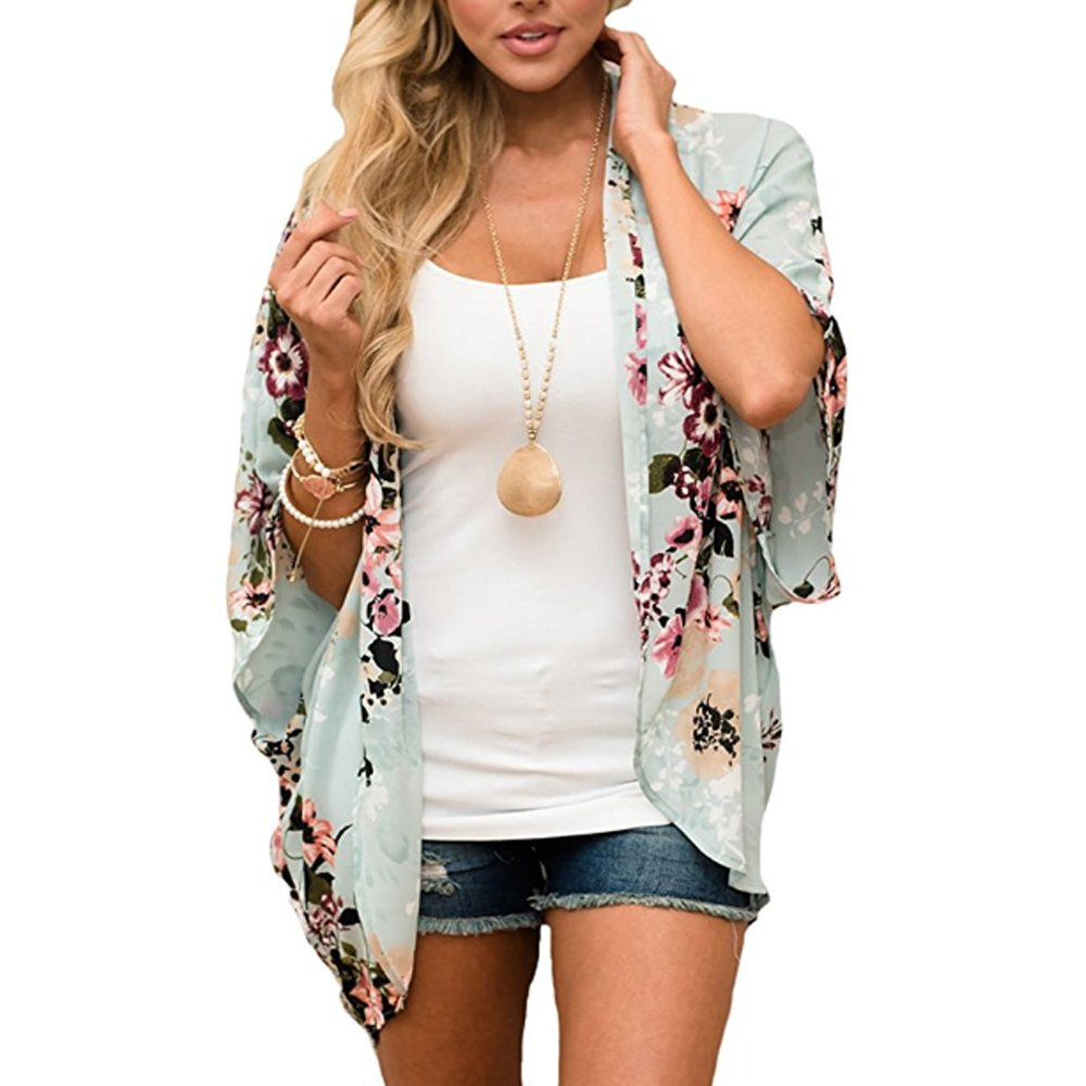 Light Green BOSSAND Womens Floral Print Loose Puff Sleeve Kimono Cardigan Lace Patchwork Cover up Blouse