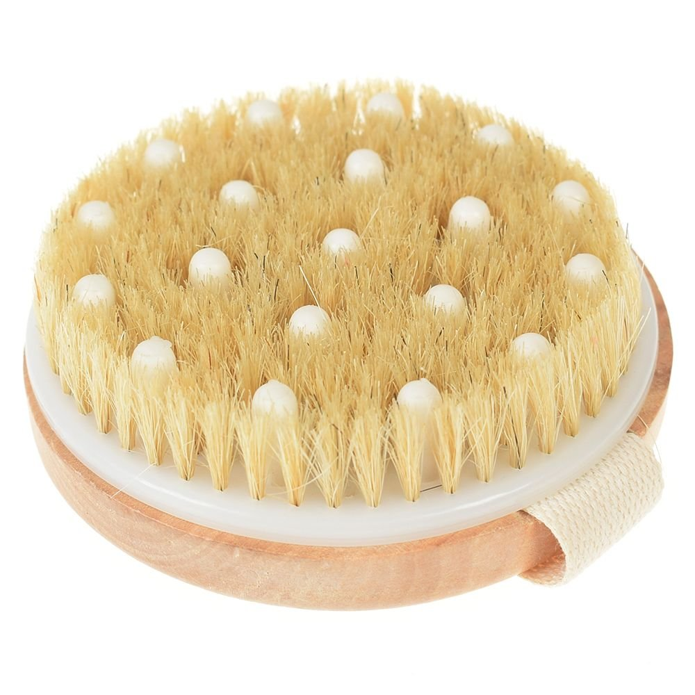 IETONE Dry Skin Body Brush,Wooden Shower Massaging Back Brush -Natural Bristle For Dry Brushing, Detachable Long Handle for Dry Skin Brushing And Exfoliating
