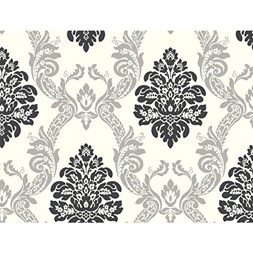 York Wallcoverings Black and White Damask Removable Wallpaper, Cream/Gray/Black ()