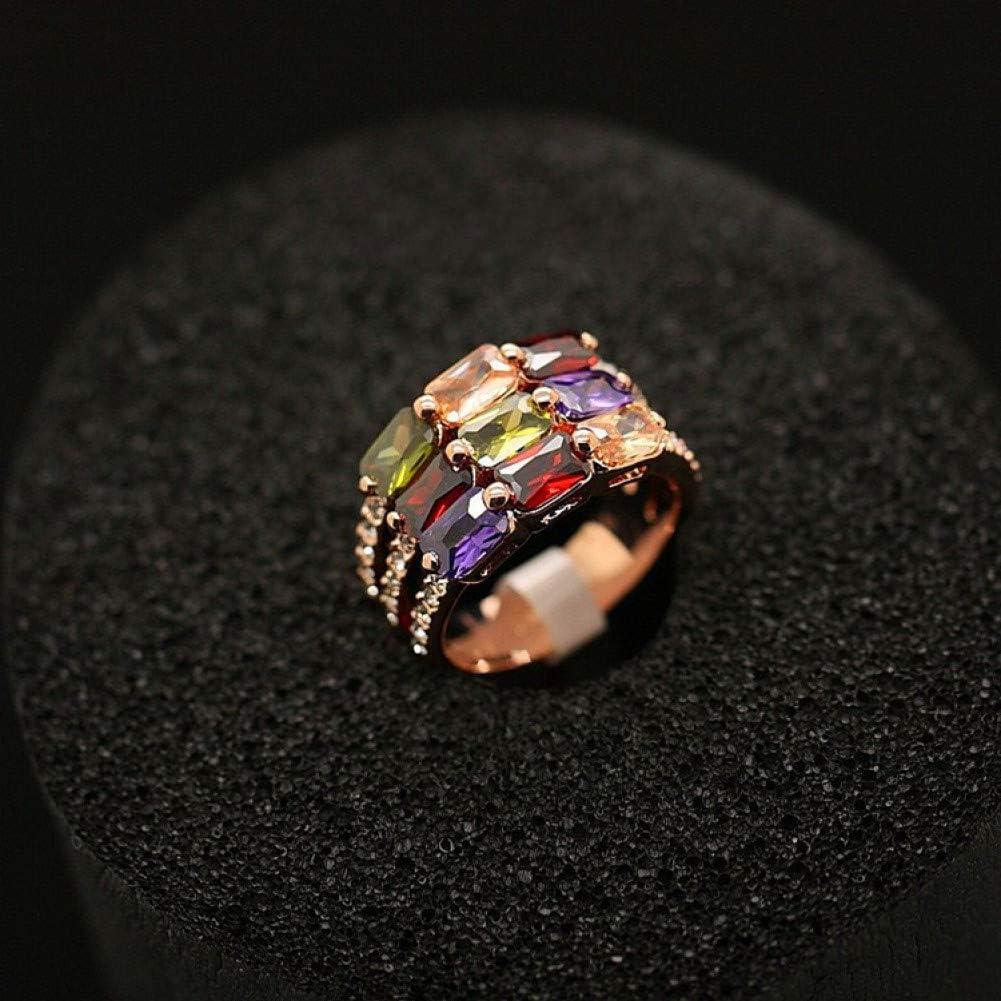 WWLZ Anillo de Dedo índice Ancho Personalizado para Mujer con Anillo de Diamantes de Cristal