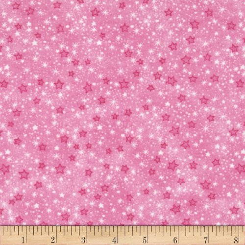 A.E. Nathan Flannel Stars Pink Fabric by The Yard ()