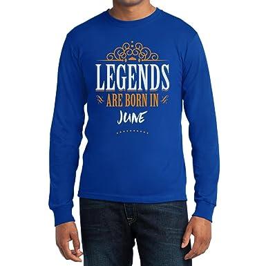 Legends are born in Juni - Geschenke Langarm T-Shirt Small Blau