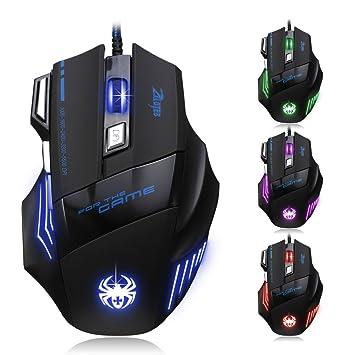 DLAND T80-NEW-UK - Ratón con 7 botones, 5500 dpi, conector tipo USB, color negro y azul