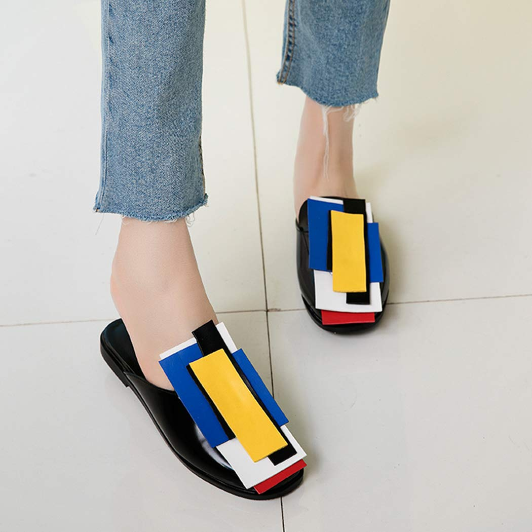 2019 Spring Fashion Women Mules pu Mix Color Slippers Flat with Round Toe Shoes Casual Women Clogs wetkiss NA005