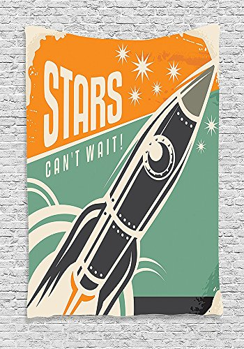Vintage Decor Tapestry Stars Cant Wait Retro Advertisement with Rocket Figure Launch Your Business Image Wall Hanging for Bedroom Living Room Dorm Multi