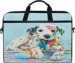 YVONAU Laptop Bag Watercolor Dog Travel Notebook Bag Shoulder Messenger Bag 14-14.5 Inch Computer Laptop Case Sleeve for Women Men Boys Girls