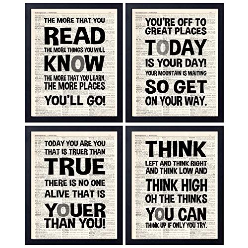 akeke Dr. Seuss Quotes and Saying Vintage Book Wall Art Prints - Set of Four 8