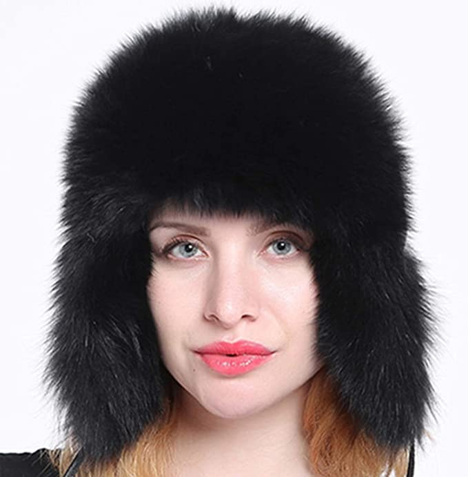 012f2ff5ec32a Image Unavailable. Image not available for. Color  Women s Genuine Fox Fur  Trapper Hat with pom poms Winter Ear Flaps Bomber Hats Russian Ushanka