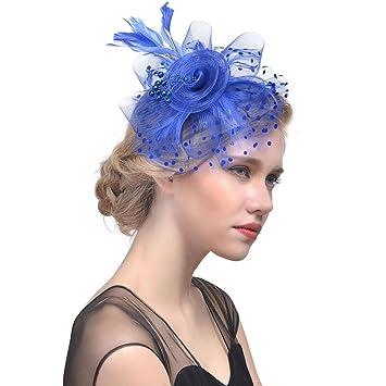 78b795a2c3a5d Xshuai Women Hat, Fashion Women Elegant Flower Mesh Ribbons Feathers  Headband Caps Bride Headwear for Wedding Cocktail Tea Party (Blue)