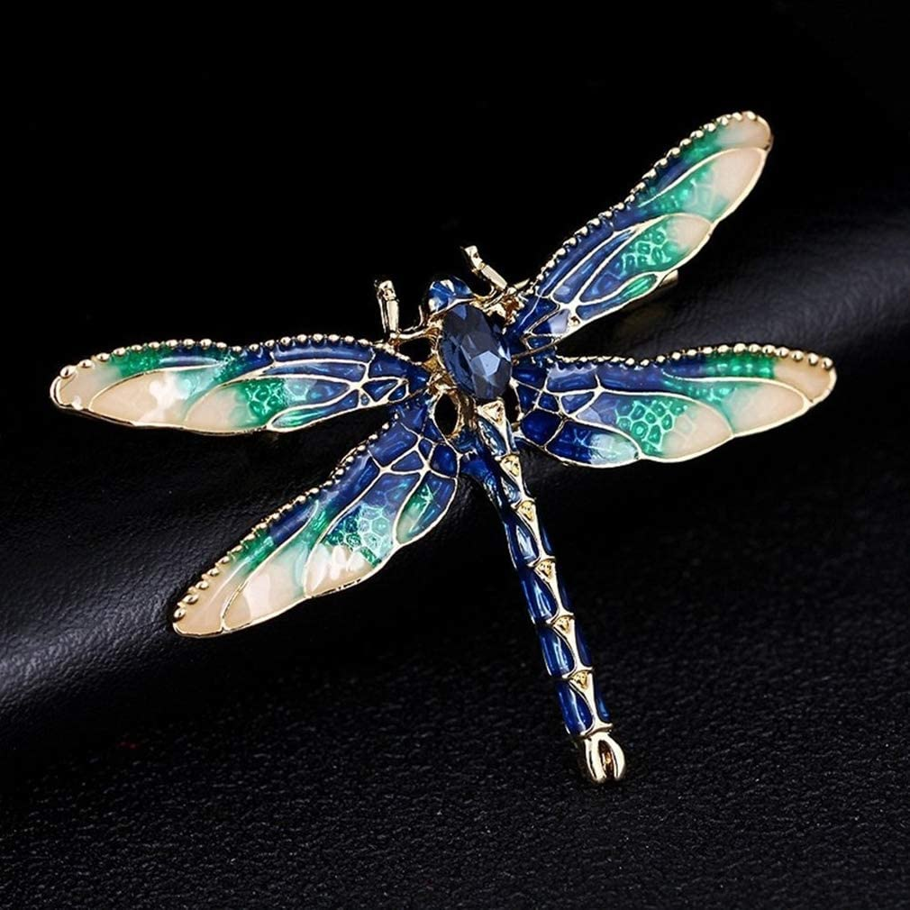 DearAnswer Dragonfly Enamel Brooch Lovely Insect Lapel Pin Scarves Shawl Clip Delicate Accessories for Party,Red