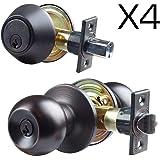 Set of 4 - Premium Combo Lockset - Single Cylinder Deadbolt – Oil Rubbed Bronze (KW1)