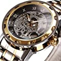ALPS Men's Classic Luxury Skeleton Mechanical Hand Wind Stainless Steel Automatic Watch