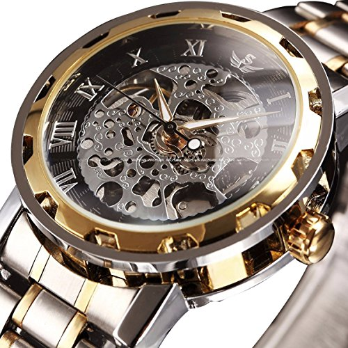 Mens Classic Skeleton Stainless Steel Mechnical Watch with Link Bracelet (GoldBlack)