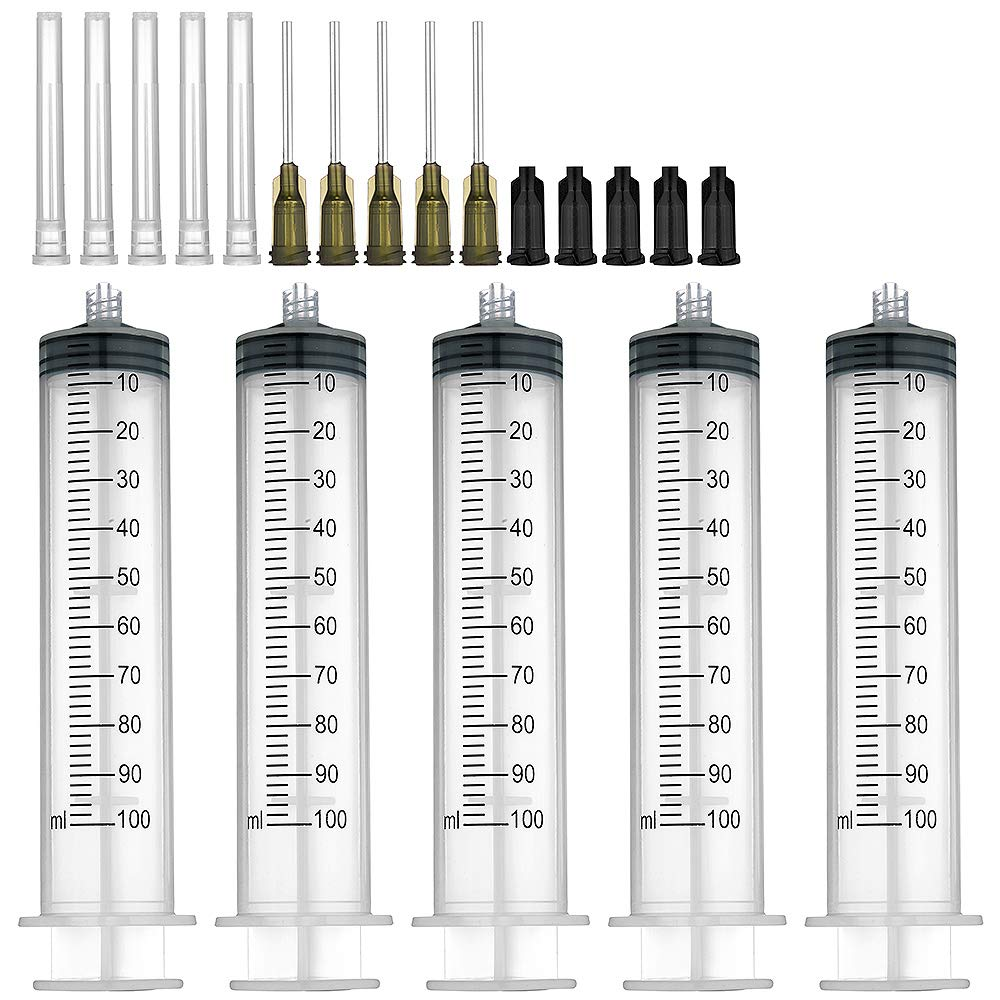 5 Pack 100ml Syringes with 14G 1.0'' Blunt Tip Needles and Storage Caps(Luer Lock), Plastic Reusable Syringe for Glue Applicator, Oil Dispensing Multiple Uses