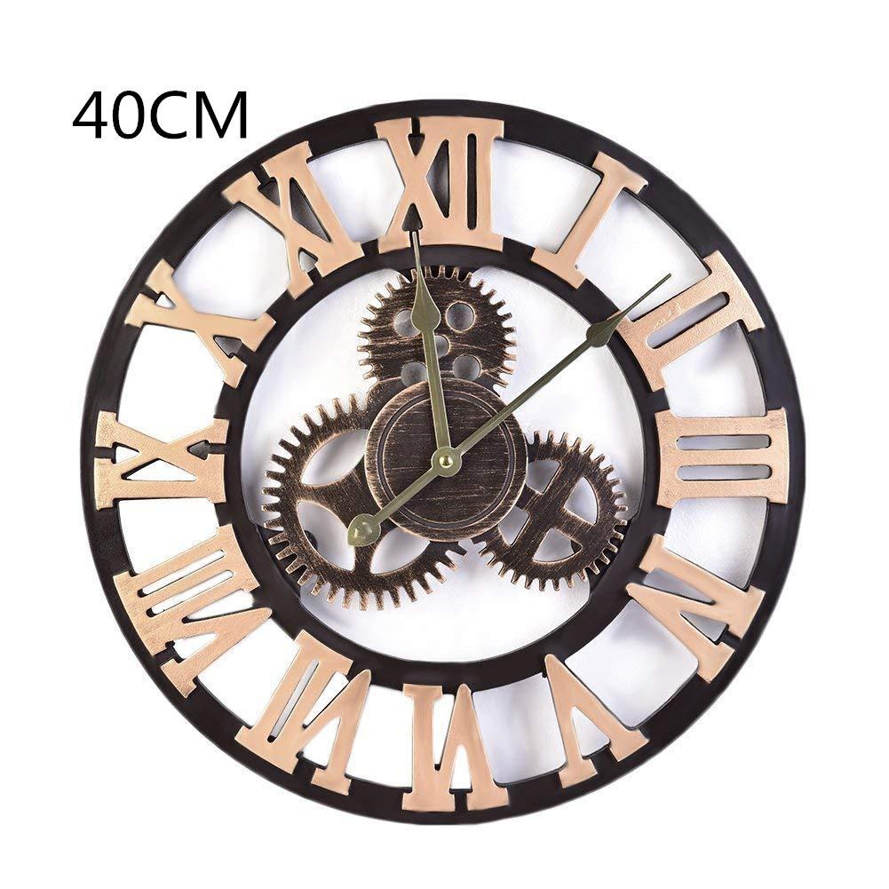 Amazon.com: chendongdong Retro Vintage Wood Gear Round Roman Numeral Wall Clock Industrial Style Handmade 3D Gear Wall Clock Home Hotel Bar Office Decor ...