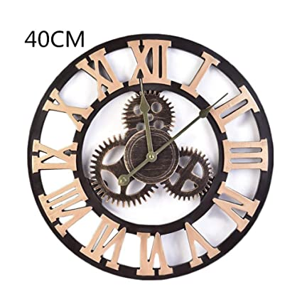 chendongdong Retro Vintage Wood Gear Round Roman Numeral Wall Clock Industrial Style Handmade 3D Gear Wall