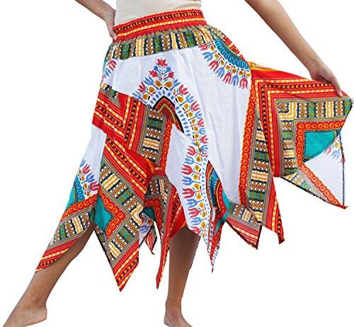New Fair Trade Handmade Art - RaanPahMuang Brand Wild Angle Cut African Boubou Afrika Dashiki Art Dance Skirt, Long SizeM, New White Red