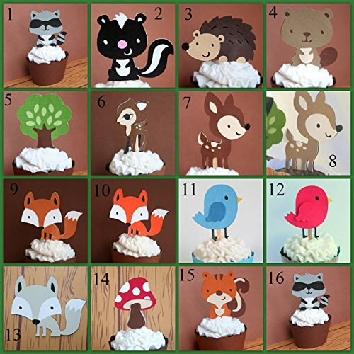 Woodland Creatures Party Cupcake Toppers Set of 12- YOU CHOOSE 12- Deer, Hedgehog, Bird ,Raccoon, Fox, Skunk, Mushroom, Squirrel