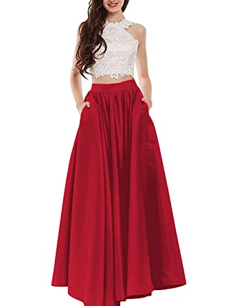 Womens Two Piece Prom Dress with Pockets Lace A Line Evening Formal Gowns Burgundy
