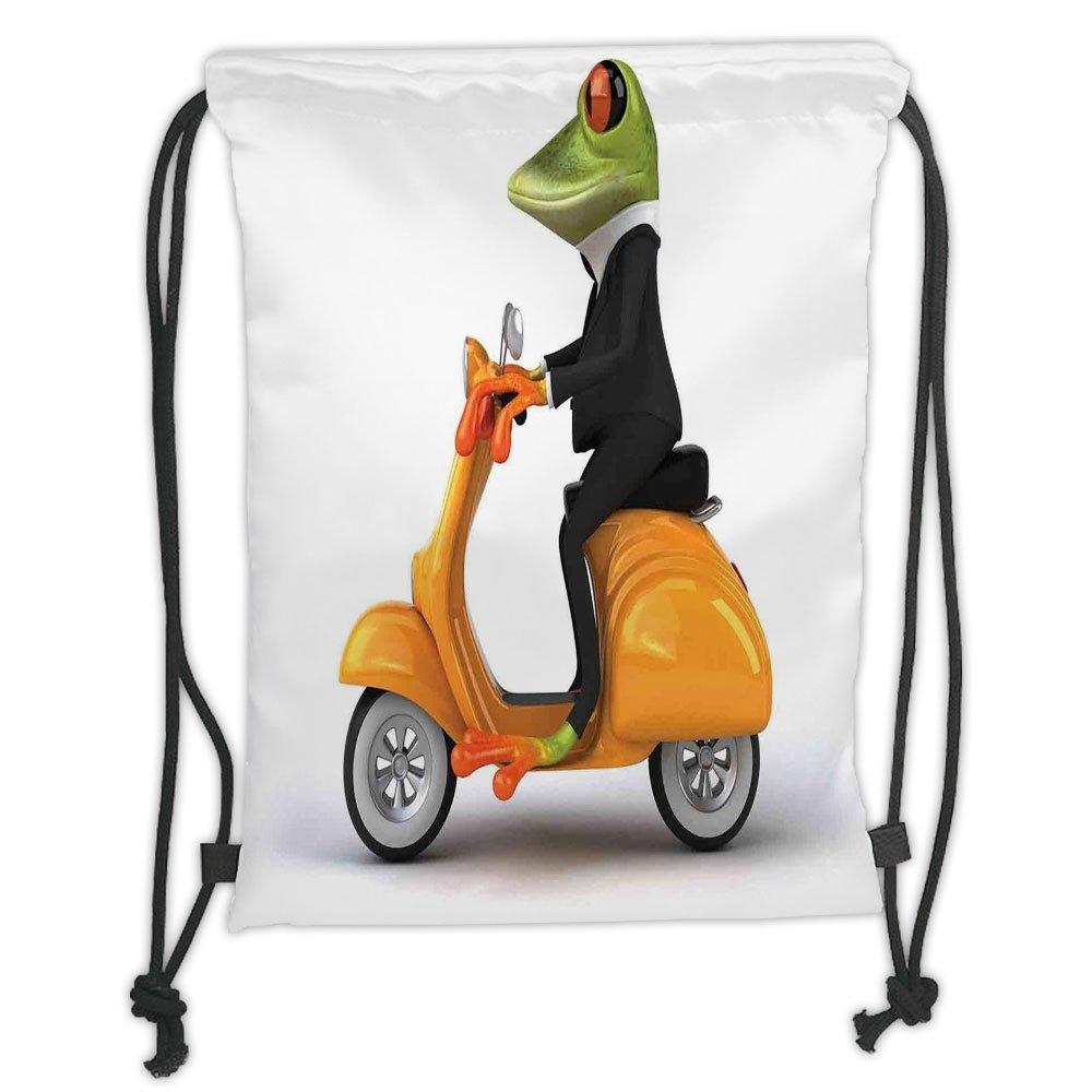 well-wreapped Custom Printed Drawstring Sack Backpacks Bags,Animal Decor,Serious Italian Stylish Frog Riding Motorcycle Fun Nature Graphic Urban Art Print,Green Black OrangeSoft Satin,5 Liter Capacity,Adjustable S