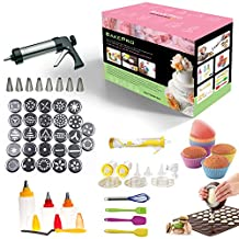 BakePro - 72 pcs Deluxe Stainless Steel Cake, Biscuit and Icing set with 27 discs, 8 nozzles, macaron baking sheet + piping kettle, 14pcs ELECTRIC decorating pen set, 8 pc icing and fondant decorating bottles with double colour option, angled spatula, 6 pcs soft silicon cup cake mold and 4 preparation accessories + FREE IDEAS Booklet