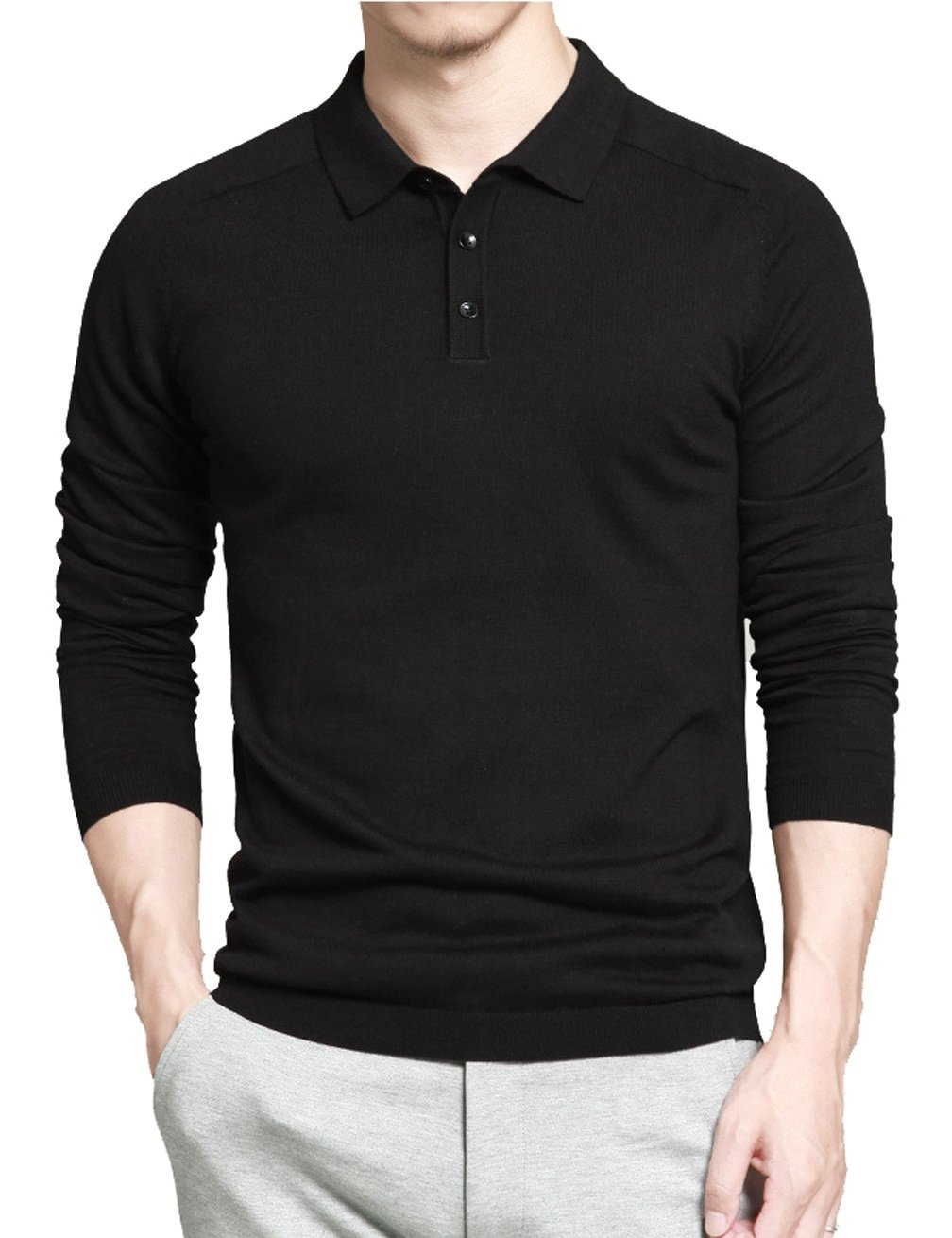 Gameyly Men's Long Sleeves Pullover Sweater-Knit Polo L Black