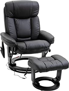 HOMCOM Massage Sofa Recliner Chair with Footrest, 10 Vibration Points, Faux Leather, Black